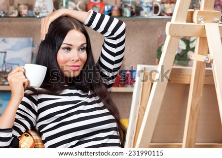 woman drawing - stock photo
