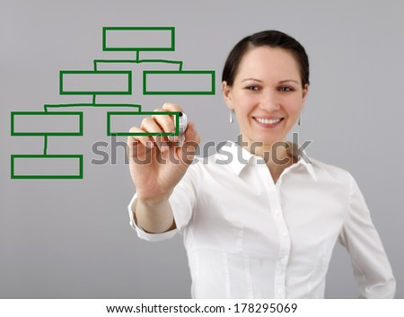 Woman drawing a graph isolated on grey background