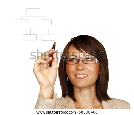 Woman drawing a graph isolated on white background