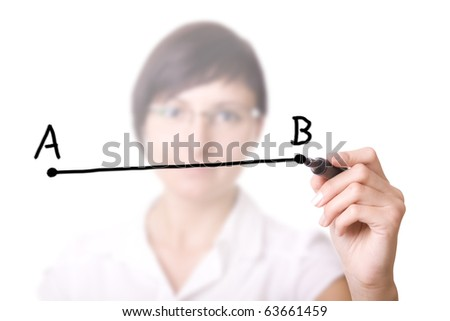 Woman drawing a line from point A to point B (selective focus). Businesswoman with pen in virtual whiteboard. - stock photo