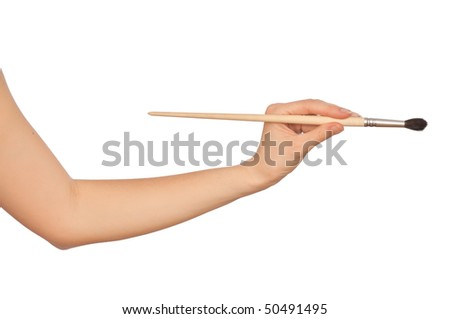 woman drawing a painting with art brush