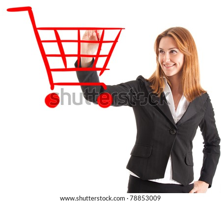 Woman drawing a shopping cart on the screen - stock photo