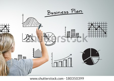 woman drawing different business plan graphs and charts - stock photo