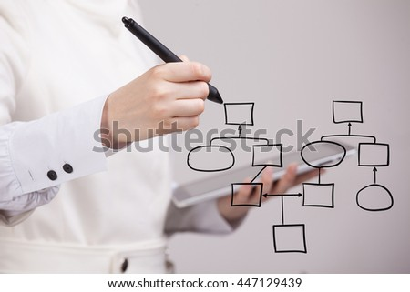 Woman drawing flowchart, business process concept - stock photo