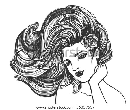 woman drawing  - for VECTOR version please visit my portfolio - stock photo