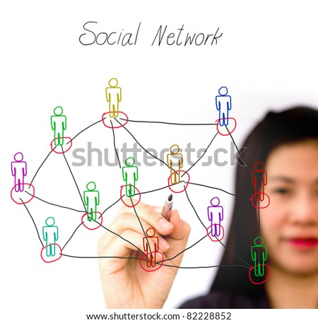 woman drawing social network structure in a whiteboard - stock photo