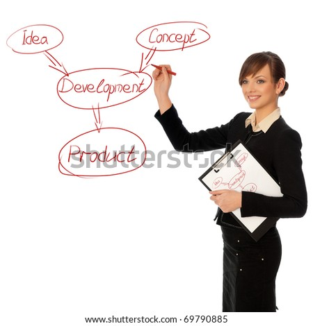 Woman drawing the scheme of development for business moving - stock photo