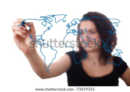 woman drawing the world map in a whiteboard 2 (on bokeh) - stock photo