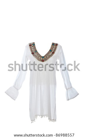 Woman dress isolated on white - stock photo