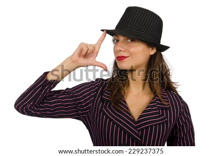 Woman dressed as gangster isolated on white