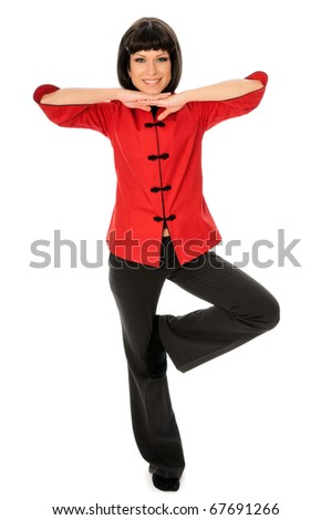 Woman dressed in Chinese style showing martial art - stock photo