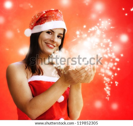 woman dressed santa claus with sparkling stars