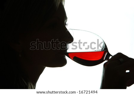 woman drink glass red wine - stock photo