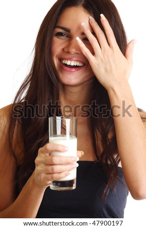 woman drink yogurt close up