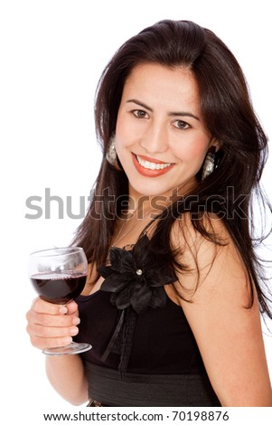 Woman drinking a glass of wine - isolated over white - stock photo