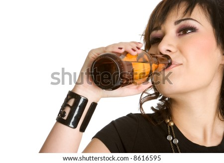 Woman Drinking Beer - stock photo