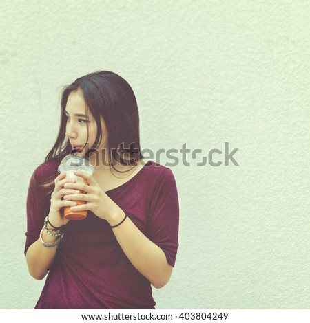 Woman Drinking Beverage Milk Tea Drinks Waiting Concept - stock photo