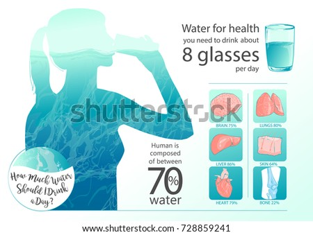 Woman Drinking Glass Water Human Body Stock Illustration 728859241