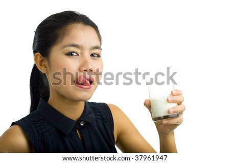 woman drinking milk, isolated on white - stock photo