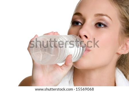 Woman Drinking Water - stock photo