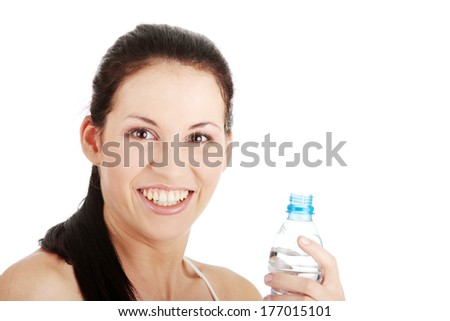 Woman drinking water isolated over a white background