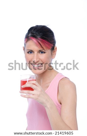 woman drinks a glass of orange juice isolated on white background - stock photo
