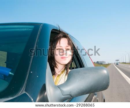 woman drive car - stock photo