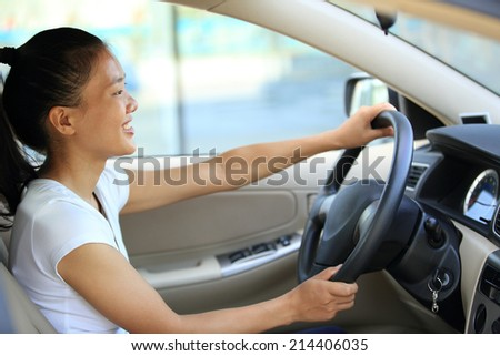 woman driver driving in car