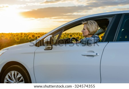 Woman driving at night on a country road at sunset alongside a field of bright yellow sunflowers, view through the windshield