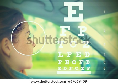 Woman driving car and eyesight check chart on the blurred background - driver health examination concept
