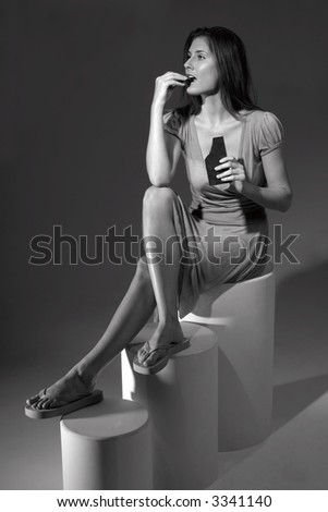 Woman during ceremonial chocolate eating - stock photo