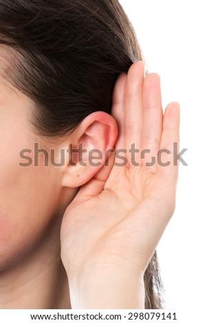 Woman ear - stock photo