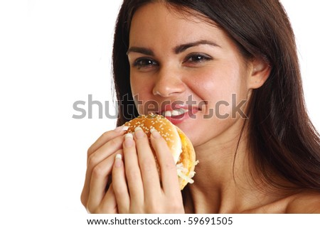 woman eat burger