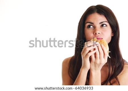 woman eat burger - stock photo
