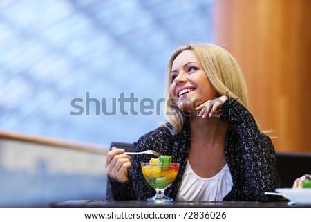 woman eat desert - stock photo