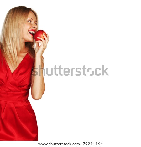 woman eat red apple - stock photo