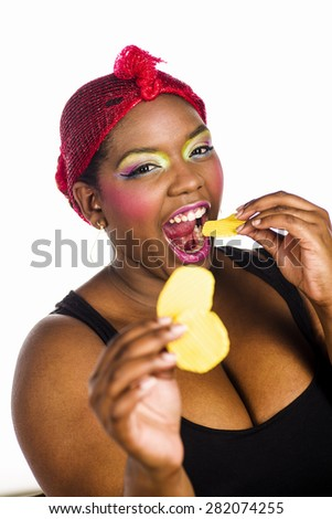 Woman eating - stock photo