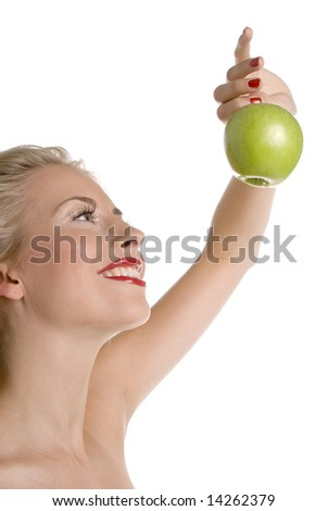 woman eating apple - stock photo