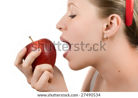 woman eating apple isolated on white
