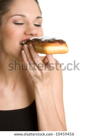 Woman Eating Donut - stock photo