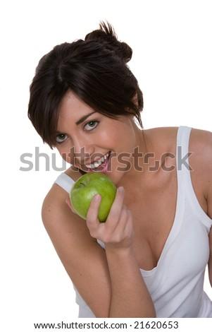 woman eating granny smith apple - stock photo