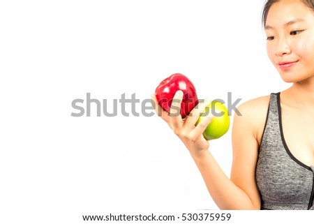 Woman eating healthy fruits ,  Dieting concept. Healthy food ,white background isolate