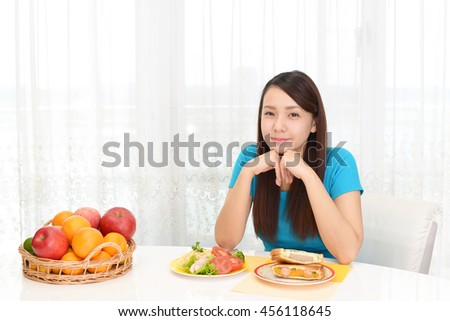 Woman eating meals