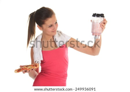 Woman eating pizza - stock photo