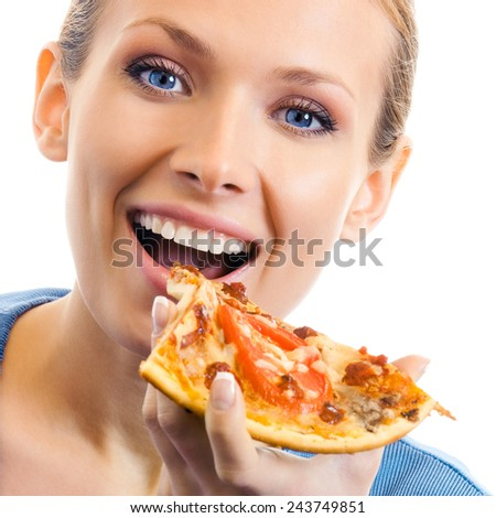 Woman eating pizza, isolated over white background