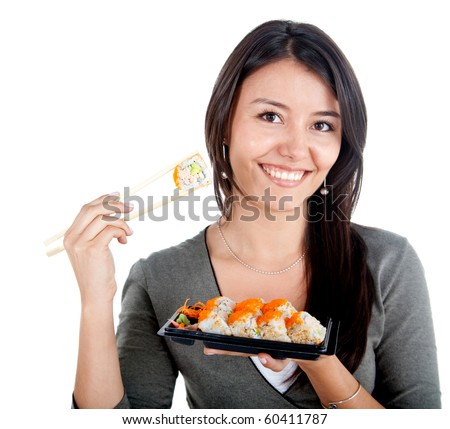 Woman eating sushi and smiling - isolated over a white background - stock photo