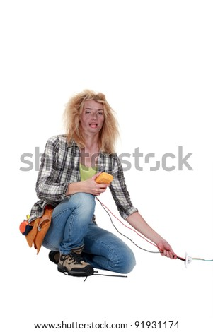 Woman electrocuted - stock photo
