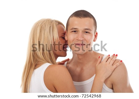 woman embracing her lover on white background - stock photo