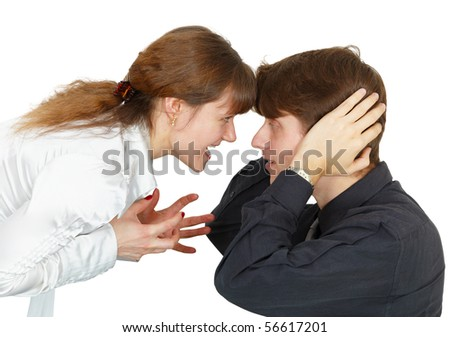 Woman emotionally proves the correctness of the dispute - stock photo