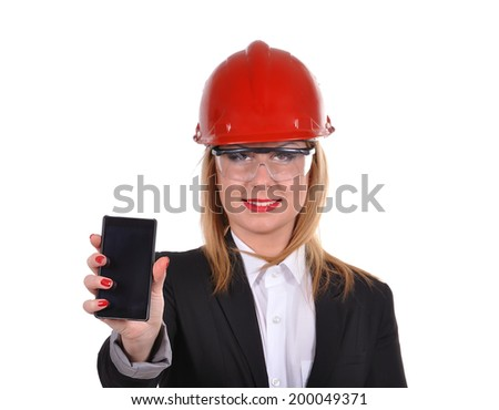 woman engineer with phone in helmet  isolated on white - stock photo